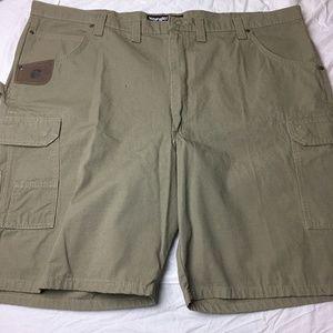 Wrangler Denim Cargo Shorts Mens 40 Waist Camel